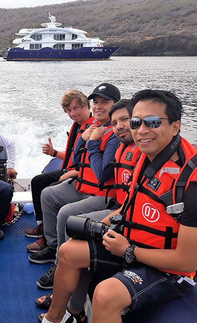 tour group in a boat - endemic yacht