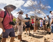 guide with tour group in galapagos