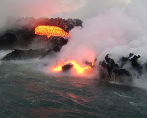 volcano erupting in galapagos
